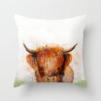 cow Throw Pillows featuring Cow by emegi