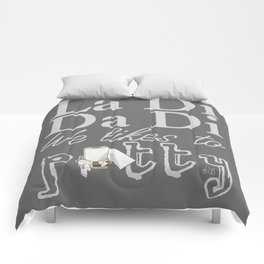La Di Da Di on Gray Comforters