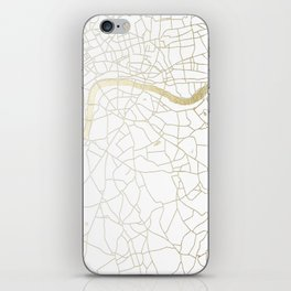 White on Yellow Gold London Street Map iPhone Skin