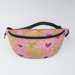 Yellow cats on pink background Fanny Pack