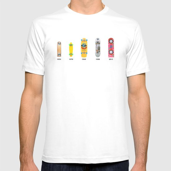 Evolution of skate deck T-shirt