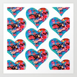 Tie-Dye Hearts Art Print