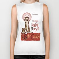hobbes Biker Tanks featuring Le Tigre Rayé by Arinesart