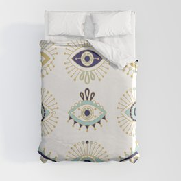 Evil Eye Collection on White Duvet Cover