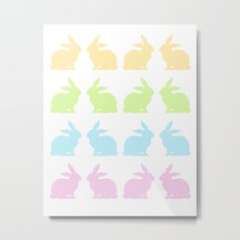 LOVELY COLORFUL EASTER BUNNIES Metal Print