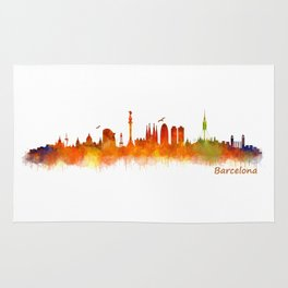 Barcelona City Skyline Hq _v2 Rug