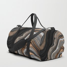 Elegant black marble with gold and copper veins Duffle Bag