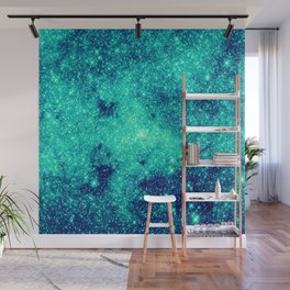 Teal Turquoise GalaXy. Sparkle Stars Wall Mural