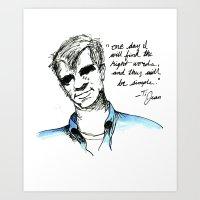 kerouac Art Prints featuring Ti Jean/ Jack Kerouac by Runk the Skunk