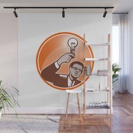 Businessman Holding Lightbulb Woodcut Wall Mural