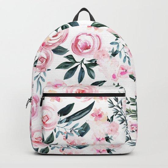Floral Rose Watercolor Flower Pattern Backpack