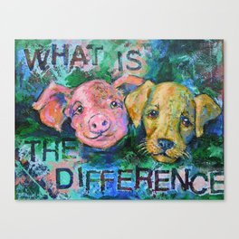 Piglet or Puppy - Vegan Canvas Print