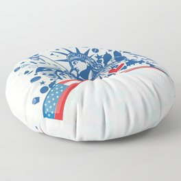 statue of liberty with icon set on flag Floor Pillow