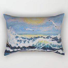 Impressionism Ocean Waves With Seagulls, Beach House Art and home decor Rectangular Pillow