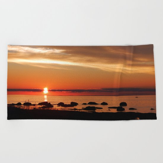 Cruising into the Sunset Beach Towel