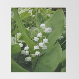 Pure White Lily of the Valley Flower Macro Photograph Throw Blanket