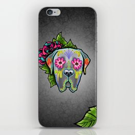 Mastiff in Grey - Day of the Dead Sugar Skull Dog iPhone Skin