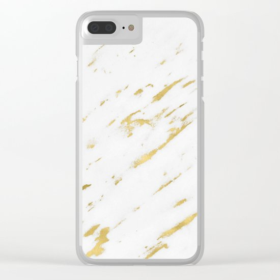 Marble - Yellow Gold Marble Design Clear iPhone Case