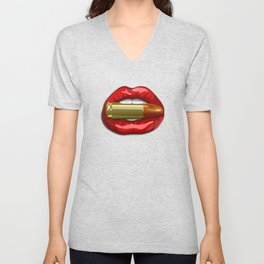 Biting The Bullet Red Lips on Black Unisex V-Neck
