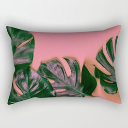 Tropical leaves Monstera on colorful background, close up Rectangular Pillow