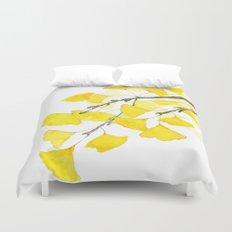 Golden Ginkgo Leaves Duvet Cover