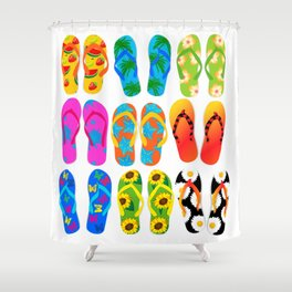 Sandals Colorful Fun Beach Theme Summer Shower Curtain