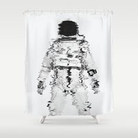 spaceman Shower Curtains featuring Melted spaceman by George James
