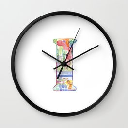 Letter I - Watercolor Monogram - Colorful Lettering - Watercolor Letter Print - Watercolor Initial Wall Clock