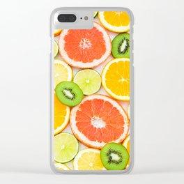 oranges ,grapefruit,kiwi, lemon and other fruits sliced Clear iPhone Case