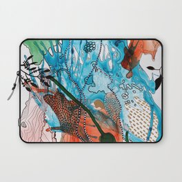 Orange and Blue Botanical Coral Reef Abstract Laptop Sleeve