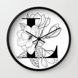 Monogram Letter L with Magnolia Line Art  Wall Clock
