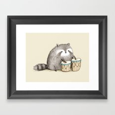 Raccoon on Bongos Framed Art Print