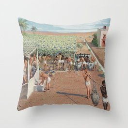 Classical Masterpiece Egyptian Laborers Harvest Grapes by Herbert Herget Throw Pillow