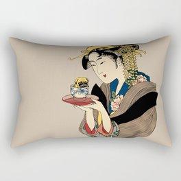 Tea Time with Pug Rectangular Pillow