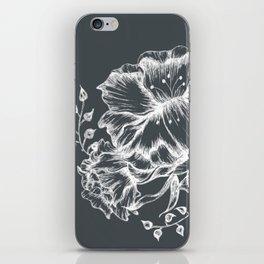 Three white inked flowers iPhone Skin