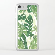 Vintage Monstera leaves Clear iPhone Case