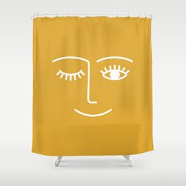 wink / mustard Shower Curtain