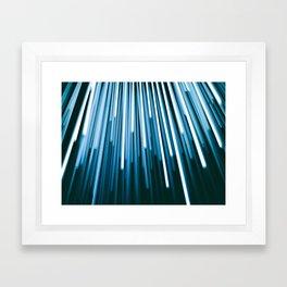Hyperspace Fiber Optics Blue white Streaks Of Light Framed Art Print