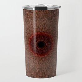 Brown mandala with red sun Travel Mug