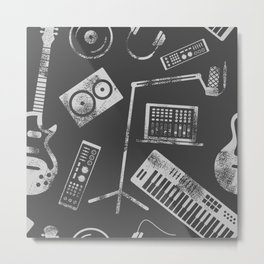 Music production illustration pattern Metal Print