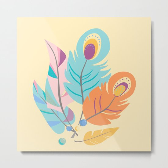 Stylized Peacock Feather Design Metal Print