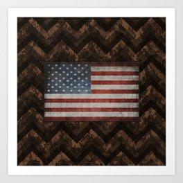 Coffee Brown Digital Camo Chevrons with American Flag Art Print