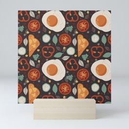 Eggs And Toast Breakfast Pattern Mini Art Print