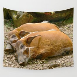 Red River Hogs taking a nap Wall Tapestry