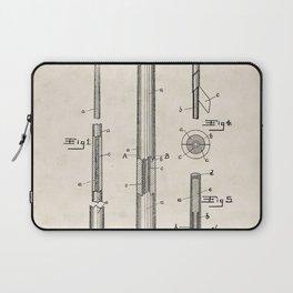 Billiard Cue Vintage Patent Hand Drawing Laptop Sleeve