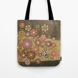 Wild Flower Collagraph Tote Bag