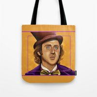 willy wonka Tote Bags featuring The Wilder Wonka by Shana-Lee