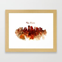 New Orleans watercolor skyline Framed Art Print