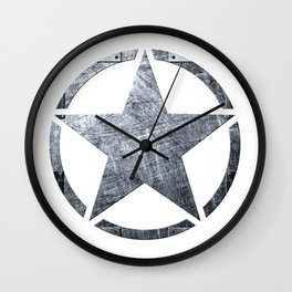 Circled Army Star on top of Brushed Riveted Steel Plate Wall Clock