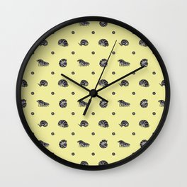 Roly Poly Party! Zebra on Yellow Wall Clock